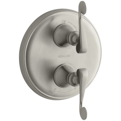 Revival Valve Trim with Scroll Lever Handle for Stacked Valve, Requires Valve Finish: Vibrant Brushed Nickel