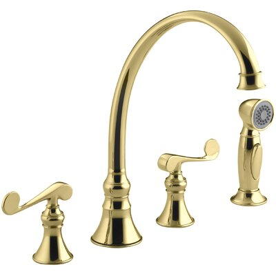 Revival 4-Hole Kitchen Sink Faucet with 9-3/16 Spout, Matching Finish Sidespray and Scroll Lever Handles Finish: Vibrant Polished Brass