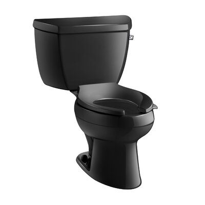 Wellworth Classic Two-Piece Elongated 1.6 GPF Toilet with Pressure Lite Flushing Technology, Tank Cover Locks and Right-Hand Trip Lever, Less Seat Finish: Black Black