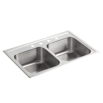Toccata 33 x 22 x 8-3/16 Top-Mount Double-Equal Bowl Kitchen Sink with 4 Faucet Holes