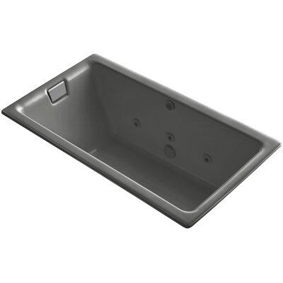 Tea-For-Two Drop-In Whirlpool Bath with Reversible Drain, Custom Pump and Heater without Trim Finish: Thunder Grey, Remote Control: No