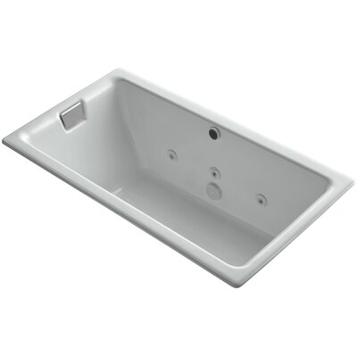 Tea-For-Two Drop-In Whirlpool Bath with Reversible Drain, Custom Pump and Heater without Trim Finish: Ice Grey, Remote Control: Yes