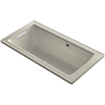Archer Drop-in BubbleMassage Air Bath with Bask Heated Surface and Reversible Drain Finish: Sandbar