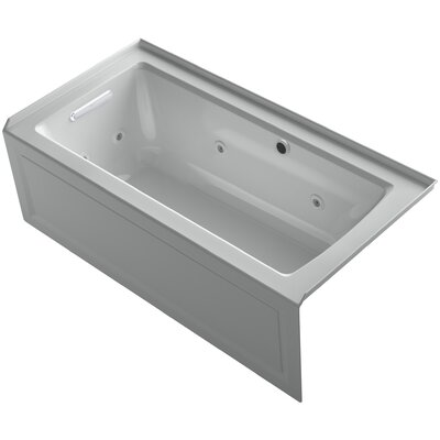 Archer Alcove Whirlpool Bath with Bask Heated Surface, Integral Apron, Tile Flange and Left-Hand Drain Finish: Ice Grey