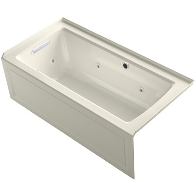 Archer Alcove Whirlpool Bath with Bask Heated Surface, Integral Apron, Tile Flange and Left-Hand Drain Finish: Biscuit