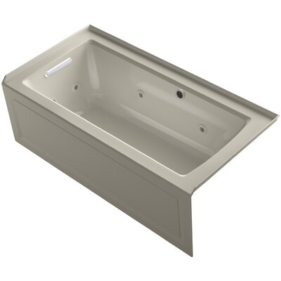 Archer Alcove Whirlpool Bath with Bask Heated Surface, Integral Apron, Tile Flange and Left-Hand Drain Finish: Sandbar