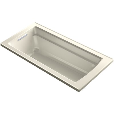 Archer Drop-in Vibracoustic Bath with Reversible Drain Finish: Almond