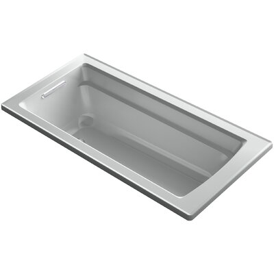 Archer Alcove VibrAcoustic Bath with Integral Apron, Tile Flange and Right-Hand Drain Finish: Ice Grey