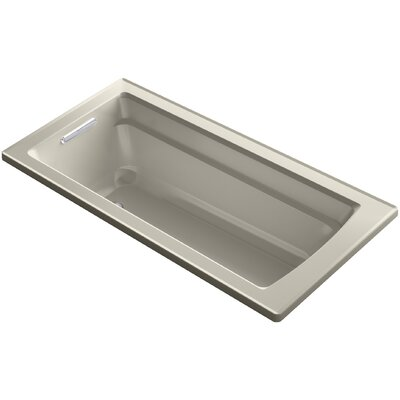 Archer VibrAcoustic Integral Apron Bath with Bask� Heated Surface, Tile Flange, and Left-Hand Drain Finish: Sandbar