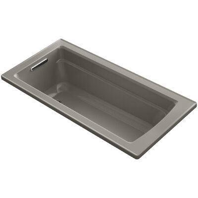 Archer VibrAcoustic Drop-in Bath with Bask Heated Surface and Reversible Drain Finish: Cashmere
