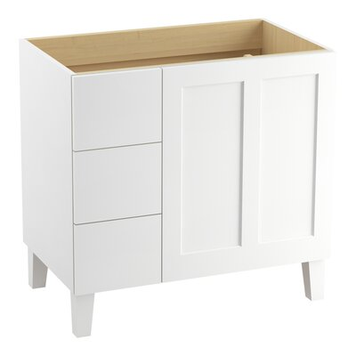 Poplin Tones 36 Vanity with Furniture Legs, 1 Door and 3 Drawers on Left Finish: Linen White
