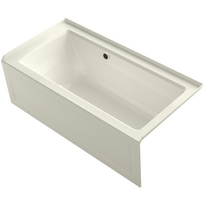 Archer Alcove BubbleMassage� Air Bath with Integral Apron, Right-Hand Drain and Bask Heated Surface Finish: Biscuit
