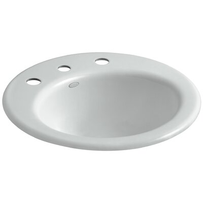 Radiant Metal Circular Drop-In Bathroom Sink with Overflow Finish: Ice Grey