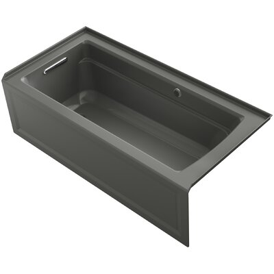 Archer Alcove Bath with Bask Heated Surface, Integral Apron, Tile Flange and Left-Hand Drain Finish: Thunder Grey