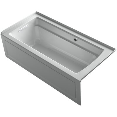 Archer Alcove Bath with Bask Heated Surface, Integral Apron, Tile Flange and Left-Hand Drain Finish: Ice Grey