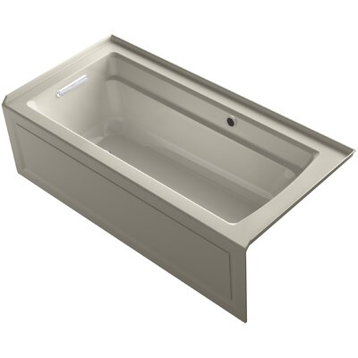 Archer Alcove Bath with Bask Heated Surface, Integral Apron, Tile Flange and Left-Hand Drain Finish: Sandbar