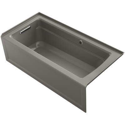 Archer Alcove Bath with Bask Heated Surface, Integral Apron, Tile Flange and Left-Hand Drain Finish: Cashmere
