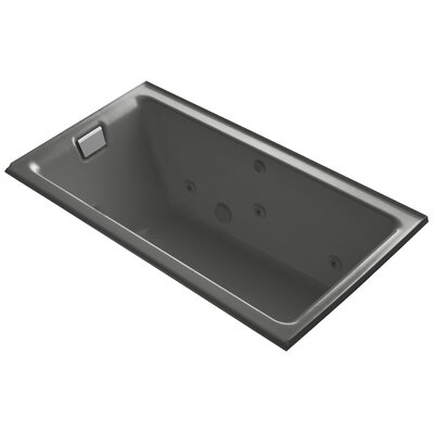Tea-For-Two Alcove Whirlpool with Left-Hand Drain and Heater without Trim Finish: Thunder Grey