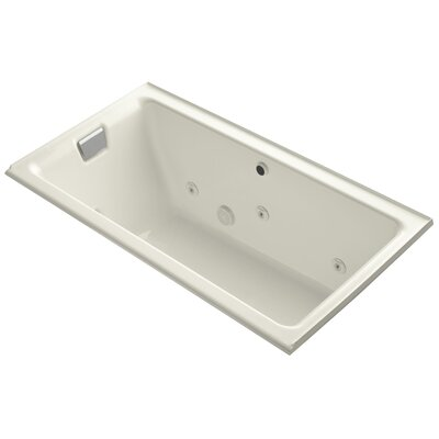 Tea-For-Two Alcove Whirlpool with Left-Hand Drain and Heater without Trim Finish: Biscuit
