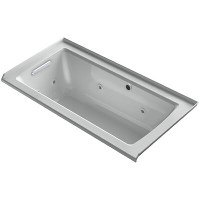Archer Alcove Whirlpool with Bask Heated Surface, Tile Flange and Left-Hand Drain Finish: Ice Grey