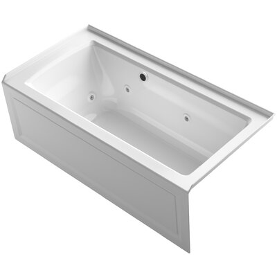 Archer Alcove Whirlpool Bath with Bask Heated Surface, Integral Apron, Tile Flange and Right-Hand Drain Finish: White
