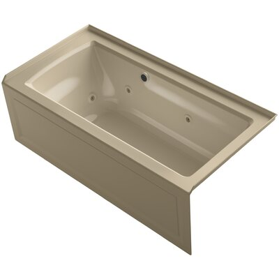 Archer Alcove Whirlpool Bath with Bask Heated Surface, Integral Apron, Tile Flange and Right-Hand Drain Finish: Mexican Sand