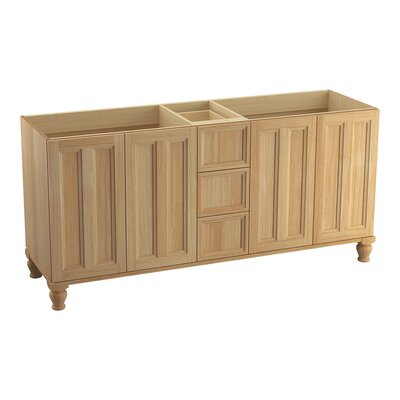 Damask� 72 Vanity with Furniture Legs, 4 Doors and 3 Drawers, Split Top Drawer Finish: Khaki White Oak