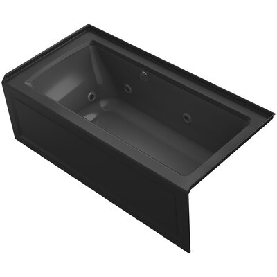 Archer Alcove Whirlpool Bath with Bask Heated Surface, Integral Apron, Tile Flange and Right-Hand Drain Finish: Black Black