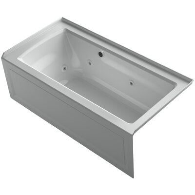 Archer Alcove Whirlpool Bath with Bask Heated Surface, Integral Apron, Tile Flange and Right-Hand Drain Finish: Ice Grey