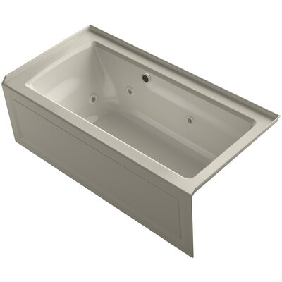 Archer Alcove Whirlpool Bath with Bask Heated Surface, Integral Apron, Tile Flange and Right-Hand Drain Finish: Sandbar