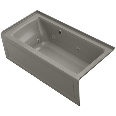 Archer Alcove Whirlpool Bath with Bask Heated Surface, Integral Apron, Tile Flange and Right-Hand Drain Finish: Cashmere