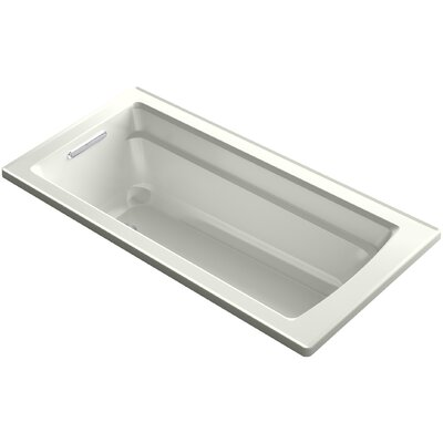 Archer VibrAcoustic Drop-in Bath with Bask Heated Surface and Reversible Drain Finish: Dune
