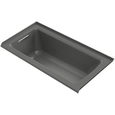 Archer VibrAcoustic Three-Wall Alcove Bath with Bask� Heated Surface, Tile Flange and Left-Hand Drain Finish: Thunder Grey