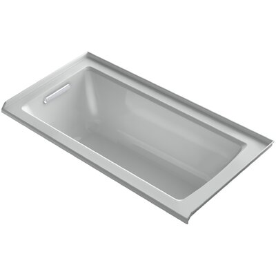 Archer VibrAcoustic Three-Wall Alcove Bath with Bask� Heated Surface, Tile Flange and Left-Hand Drain Finish: Ice Grey
