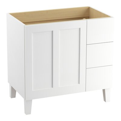Poplin 36 Vanity with Furniture Legs, 1 Door and 3 Drawers on Right Finish: Linen White