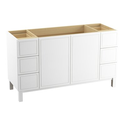Jacquard� 60 Vanity with Furniture Legs, 2 Doors and 6 Drawers, Split Top Drawers Finish: Linen White