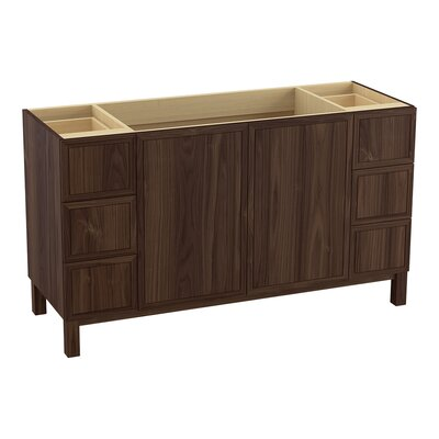 "Jacquard 60"" Vanity with Furniture Legs, 2 Doors and 6 Drawers Finish: Terry Walnut"