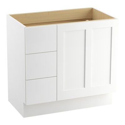 Poplin� 36 Vanity with Toe Kick, 1 Door and 3 Drawers on Left Finish: Linen White