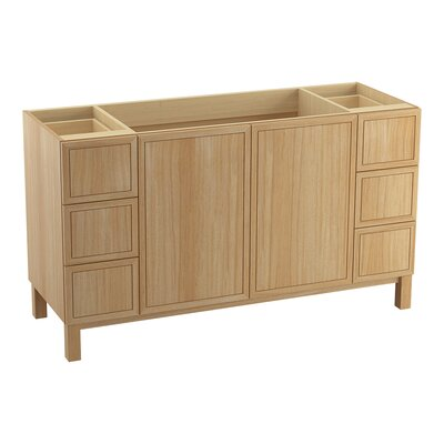 "Jacquard 60"" Vanity Base with Furniture Legs, 2 Doors and 6 Drawers, Split Top Drawers Finish: Khaki White Oak"