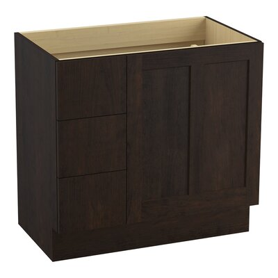 Poplin� 36 Vanity with Toe Kick, 1 Door and 3 Drawers on Left Finish: Claret Suede