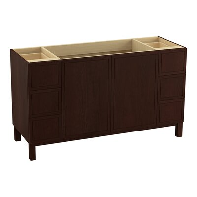 "Jacquard 60"" Vanity Base with Furniture Legs, 2 Doors and 6 Drawers, Split Top Drawers Finish: Cherry Tweed"