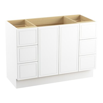 Jacquard� 48 Vanity with Toe Kick, 2 Doors and 6 Drawers, Split Top Drawers Finish: Linen White