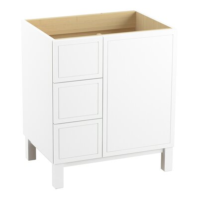 Jacquard 30 Vanity with Furniture Legs, 1 Door and 3 Drawers on Left Finish: Linen White