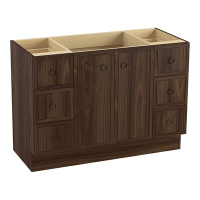 Jacquard 48 Vanity with Toe Kick, 2 Doors and 6 Drawers, Split Top Drawers Finish: Terry Walnut