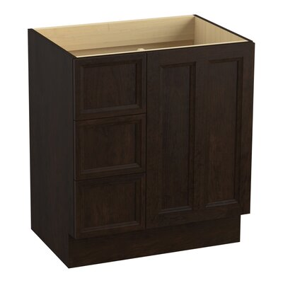 Damask� 30 Vanity with Toe Kick, 1 Door and 3 Drawers on Left Finish: Claret Suede
