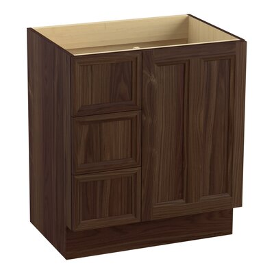 Damask� 30 Vanity with Toe Kick, 1 Door and 3 Drawers on Left Finish: Terry Walnut