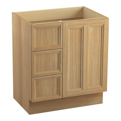 Damask� 30 Vanity with Toe Kick, 1 Door and 3 Drawers on Left Finish: Khaki White Oak
