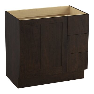 Poplin Tones 36 Vanity with Toe Kick, 1 Door and 3 Drawers on Right Finish: Claret Suede