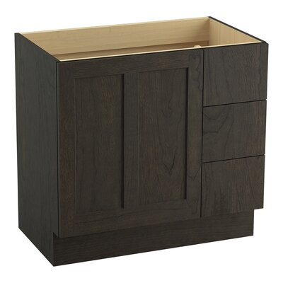 Poplin Tones 36 Vanity with Toe Kick, 1 Door and 3 Drawers on Right Finish: Felt Grey