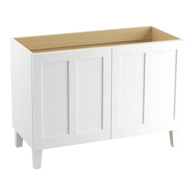 "Poplin 48"" Vanity Base with Furniture Legs and 2 Doors Finish: Linen White"